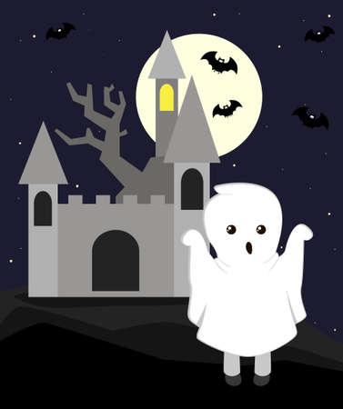 Cartoon ghost. Flat illustration for halloween