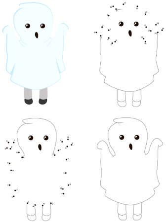 Child in a ghost costume. Halloween coloring book and dot to dot educational game for kids