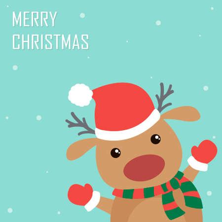 Cute and funny Christmas deer. Flat holiday greeting card 일러스트