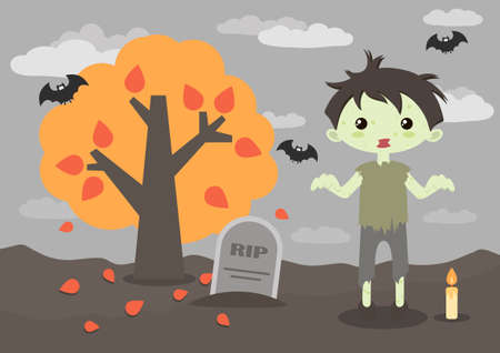 Cartoon zombie. Flat illustration for halloween 일러스트