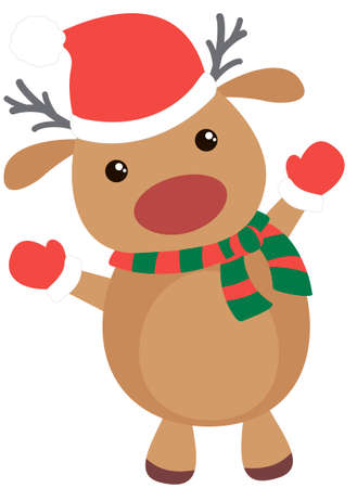 Cute and funny Christmas deer. Flat element for holiday greeting card