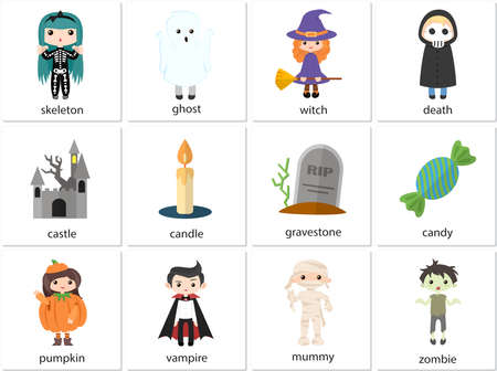 Halloween set of flat icons. Cards with English words Ilustração