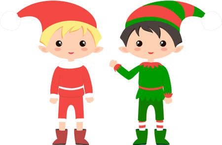 Cute and funny Christmas elf. Flat element for holiday greeting card