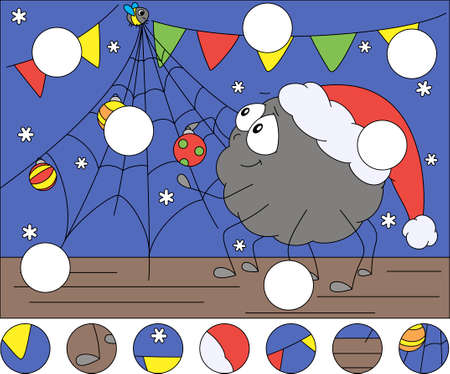 Cartoon spider decorates Christmas tree. Complete the puzzle and find the missing parts of the picture. Educational game for kids