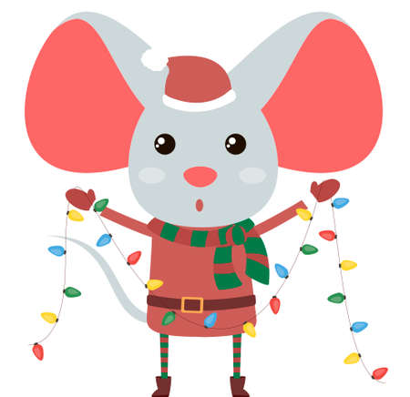 Cute and funny Christmas rat holds colorful new year garland. Flat element for holiday greeting card  일러스트