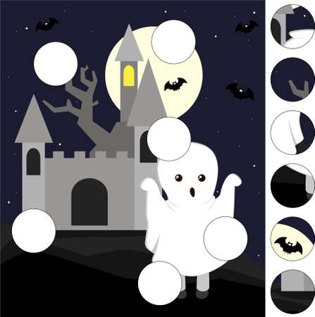 Cartoon scary ghost and old castle. Complete the puzzle and find the missing parts of the picture. Educational game for kids