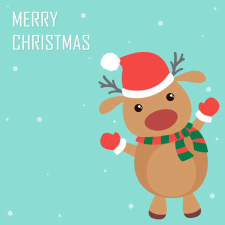 Cute and funny Christmas reindeer. Flat holiday greeting card