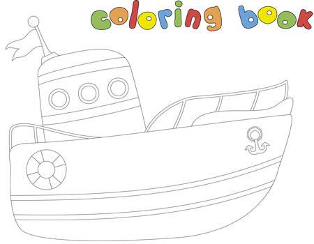 Cartoon ship. Coloring book for kids. Digital illustration