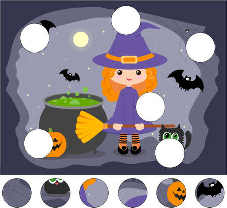 Cartoon cute witch with a pot, broom, pumpkin and black cat. Complete the puzzle and find the missing parts of the picture. Educational game for kids