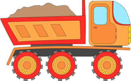 Cartoon truck isolated on white. Digital illustration