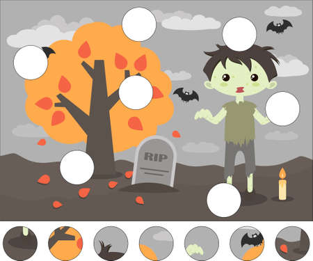 Cartoon scary zombie and gravestone. Complete the puzzle and find the missing parts of the picture. Educational game for kids Illusztráció