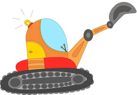 Cartoon excavator isolated on white. Digital illustration