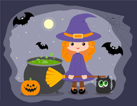 Cartoon witch with a pot, mantle, broom, black cat, pumpkin and bat. Illustration for Halloween 일러스트