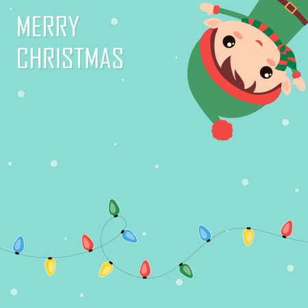Cute and funny Christmas elf and colorful garland. Flat holiday greeting card