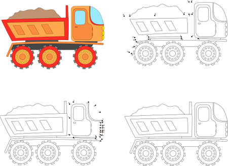 Cartoon truck. Coloring book and dot to dot educational game for kids