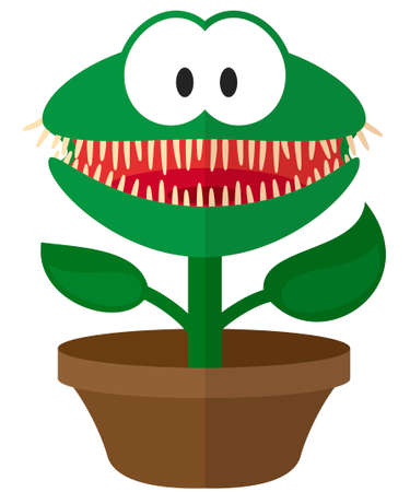 Cartoon flat Christmas Venus flytrap with a garland. Simple web icon Ilustrace