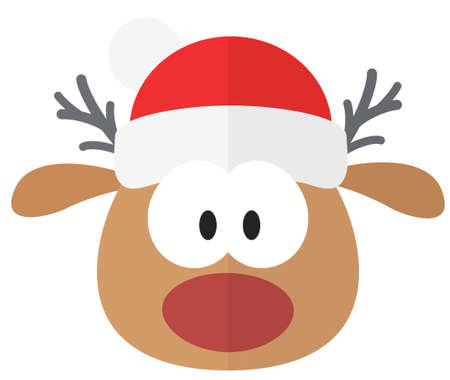 Cute and funny Christmas reindeer. Flat element for holiday greeting card Ilustrace