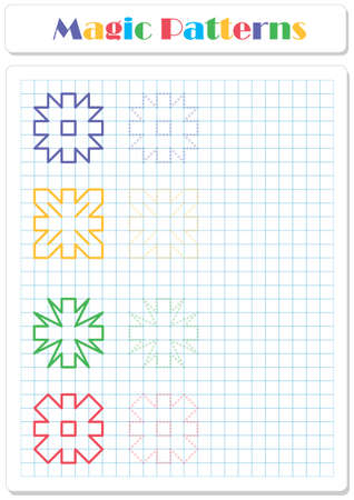 Continue the snowflake pattern with crayons or felt-tip pens. Worksheet for preschoolers and primary school children