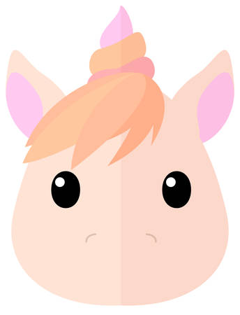 Flat cartoon marshmallow unicorn icon