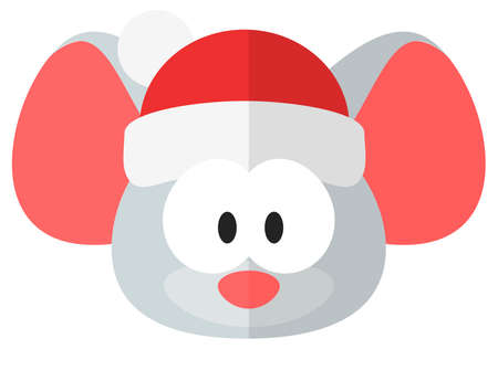Cute and funny Christmas rat. Flat element for holiday greeting card  Ilustrace