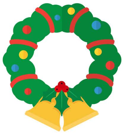 Cartoon flat Christmas wreath. Simple web icon Illustration
