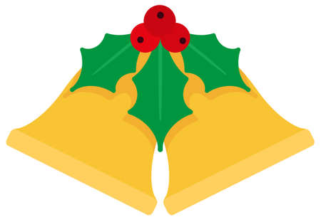 Cartoon flat Christmas bells and mistletoe. Simple web icon Ilustrace
