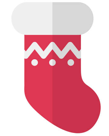 Cartoon flat Christmas red sock for gifts. Simple web icon
