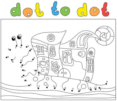 Funny cartoon snail. Coloring book and dot to dot educational game for kids