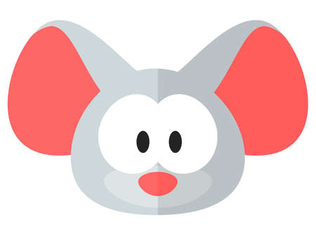 Flat cartoon rat or mouse icon