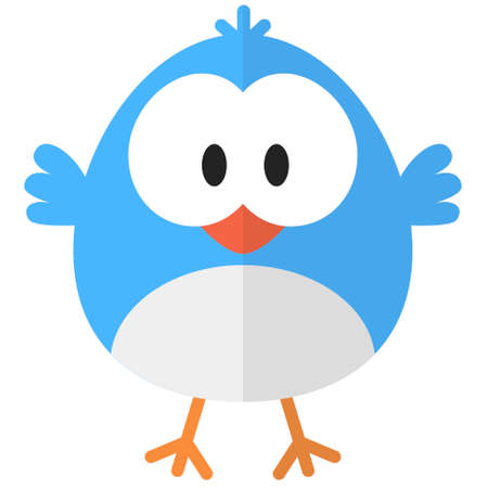 Flat cartoon blue bird web icon Ilustrace