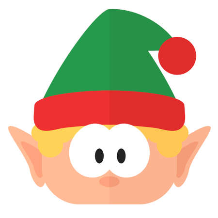 Christmas elf. New Year flat icon. Digital illustration
