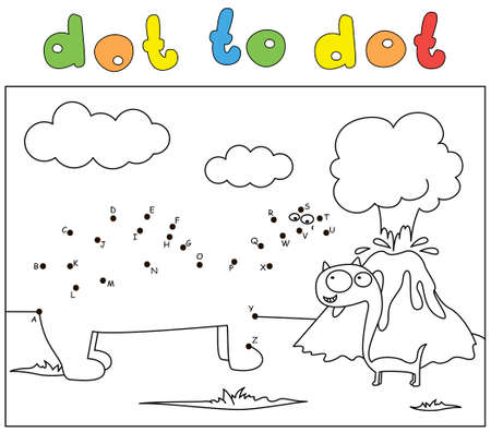 Two comic cartoon dinosaurs and volcano eruption. Coloring book and dot to dot educational game for kids