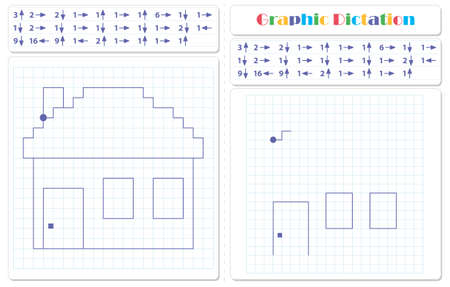 Draw a picture on the arrows. Cartoon graphic house. Worksheet for kids