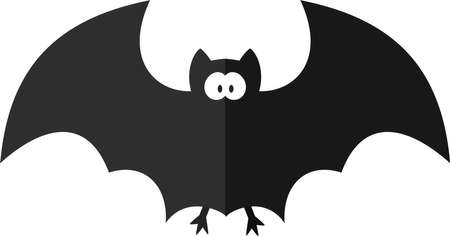 Funny cartoon bat. Flat illustration