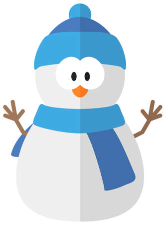 Cartoon flat snowman. Simple web icon Ilustrace