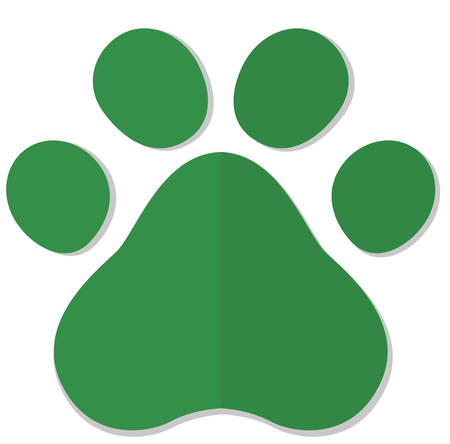 Flat cartoon animal footprint. Ecology green simple icon