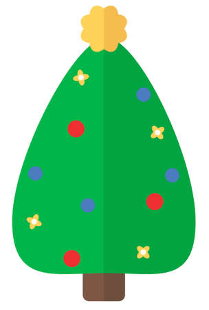 Cartoon flat Christmas tree. Simple web icon