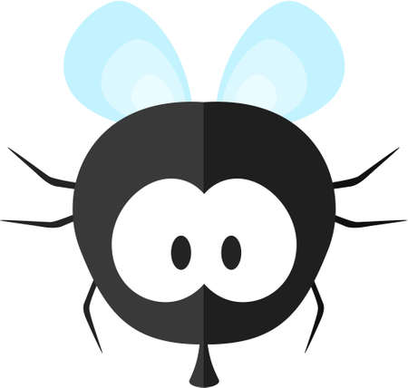 Funny cartoon fly. Flat icon. Illustration for kids