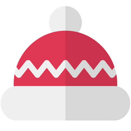 Cartoon flat Christmas red hat. Simple web icon