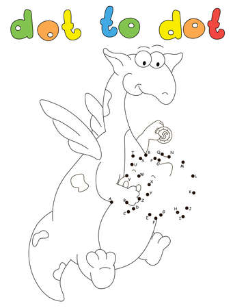 Funny cartoon dragon puts a coin into the piggy bank. Coloring book and dot to dot educational game for kids Ilustrace