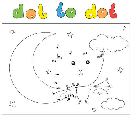 Funny cartoon bat and Moon in the night sky. Dot to dot educational game for kids Ilustrace