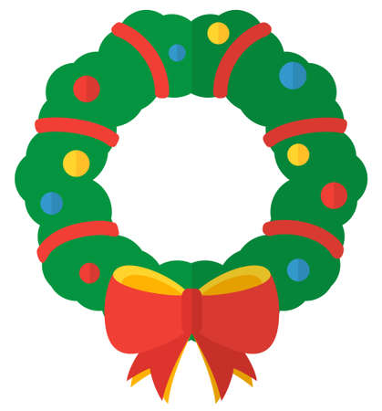 Cartoon flat Christmas wreath. Simple web icon Ilustrace