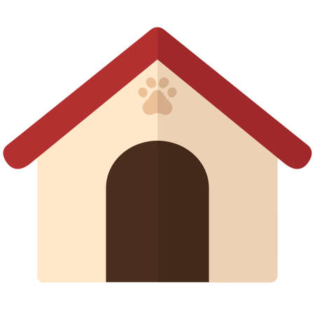 Flat cartoon pet house. Web icon for cat or dog small home