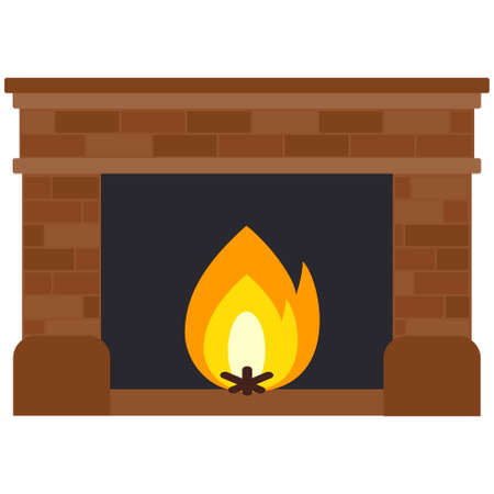 Cartoon flat fireplace. Simple web icon