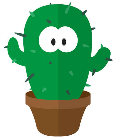 Cartoon cactus. Flat cartoon web icon