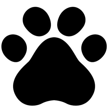 Flat cartoon animal footprint. Cat or dog paw web icon