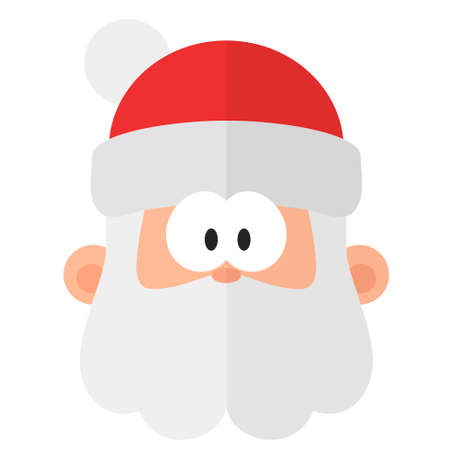 Christmas Santa. New Year flat icon. Digital illustration