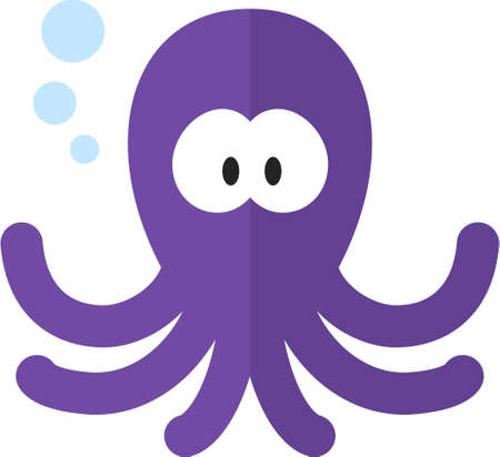 Funny cartoon octopus. Flat icon. Illustration for kids Ilustrace