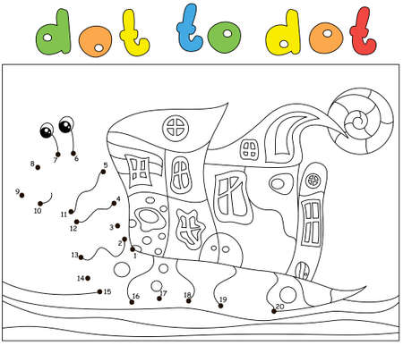 Cartoon snail with a house on its back. Dot to dot educational game for kids Ilustrace