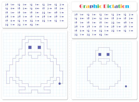 Copy the graphic picture. Draw frog and snail with lines. Worksheet for kids